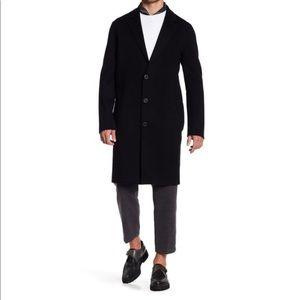 VINCE Notch Lapel Overcoat Coat Jacket Black M